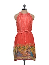 Digitally Printed Coral Red Dress - Tapyti