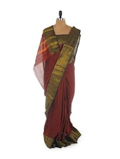 Maroon Saree With Zari Border - Aura