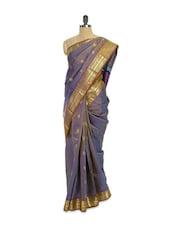 Purple Saree With Gold Border - Pratiksha