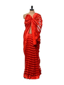 Striped Red Saree - Get Style At Home