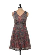 Moss Green Printed V-neck Dress - Mishka