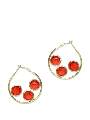 Gold Hoops with Red Crystals hoop earrings