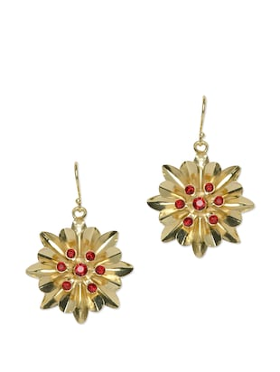 Maroon Crystal Studded Gold drop Earrings