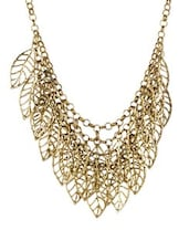 Chic Leaf Shaped Chunky Gold Necklace - Fayon