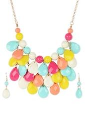 Multicoloured Chunky Neckpiece With Earrings - Fayon