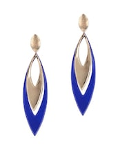 Royal Blue And Gold Leaf Drop Danglers - Fayon