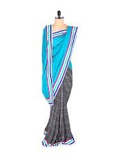 Blue Scratchy Chiffon Saree - Vishal Sarees
