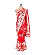 Floral Red And Cream Georgette Saree - Vishal Sarees