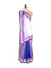 Royal Blue And Purple Chiffon Saree - Vishal Sarees