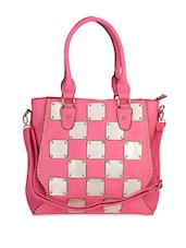 Metal Block Pink Check Handbag - Lalana