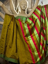 Mehendi Green Raw Jute Silk Saree - Cotton Koleksi