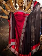 Black And Red Handloom Cotton Silk Saree - Cotton Koleksi