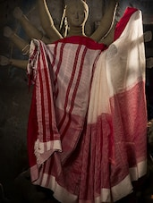 Traditional Red And White Cotton Saree - Cotton Koleksi