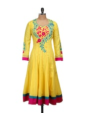 Yellow Anarkali With Pink And Blue Embroidery - Concepts