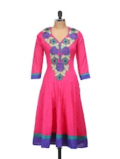 Pink Anarkali Kurta With Green And Blue Embroidery - Concepts