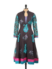 Black Anarkali Kurta With Blue Embroidery - Concepts