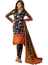 Black Printed Unstitched Dress Material - Ethnic Vibe