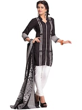 Black & White Unstitched Dress Material - Ethnic Vibe