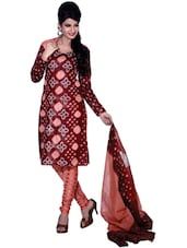 Ethnic Brown Printed Unstitched Dress Material - Ethnic Vibe