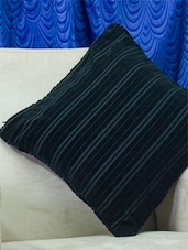 Set Of 2 Bold Black Ribbed Velvet Finish Cushion Covers - Home Colors