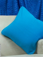 Set Of 2 Sky Blue Cotton Cushion Covers - Home Colors