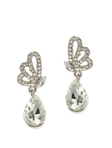 Silver Plated Drop Earrings - Golden Peacock