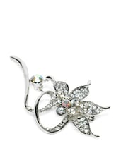Silver Plated Flower Brooch - Golden Peacock