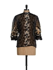 Brown Floral Print Sheer Top - Younky
