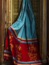 Blue Plain Resham Silk Saree - Cotton Koleksi