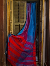 Blue And Red Handloom Cotton Saree - Cotton Koleksi