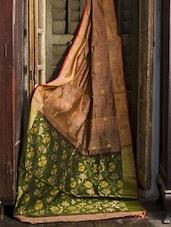Peach And Green Resham Silk Saree - Cotton Koleksi