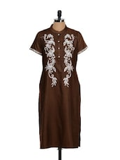 Satin Smooth Tobacco Brown Ethnic Kurta - Vedanta