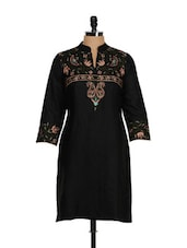 Satin Smooth Floral Embroidered Kurta - Vedanta