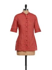 Terracotta Red South Cotton Kurta - Vedanta