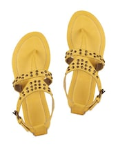 Yellow  Embellished Double Strap Sandals - AMICA SLEXIA