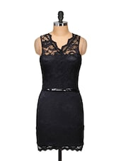 Black Sweetheart Lace Overlay Dress - Ruby