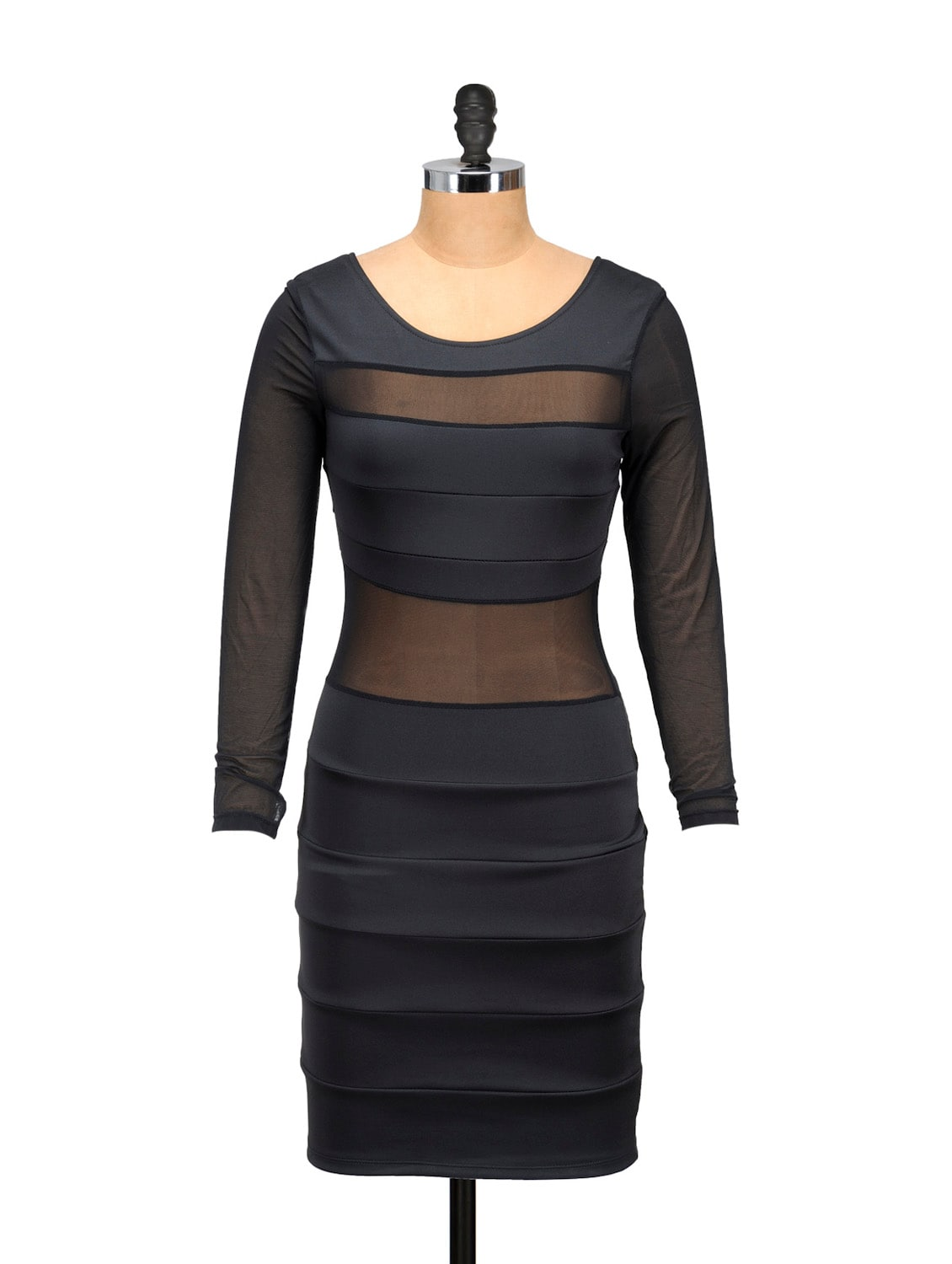 Black Evening Dress With Mesh Inserts - Ruby