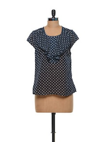 Polka Dotted Navy Polyester Top - Meira