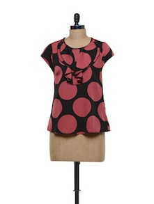 Polka Dotted Black And Red Polyester Crepe Top - Meira