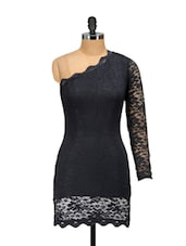 One Shouldered Black Lace Dress - Ruby
