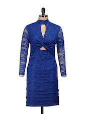 Front Knot Blue Lace Dress - Ruby