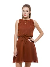 Rust Coloured Flirty Georgette Dress - Being Fab