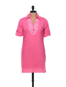 Baby Pink Cotton Kurti With Thread Work - Meira