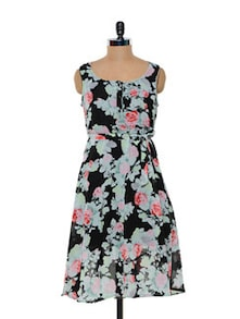 Floral Printed Polyester Georgette Dress - Meira