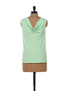 Polka Dotted Mint Green Polyester Top - Meira