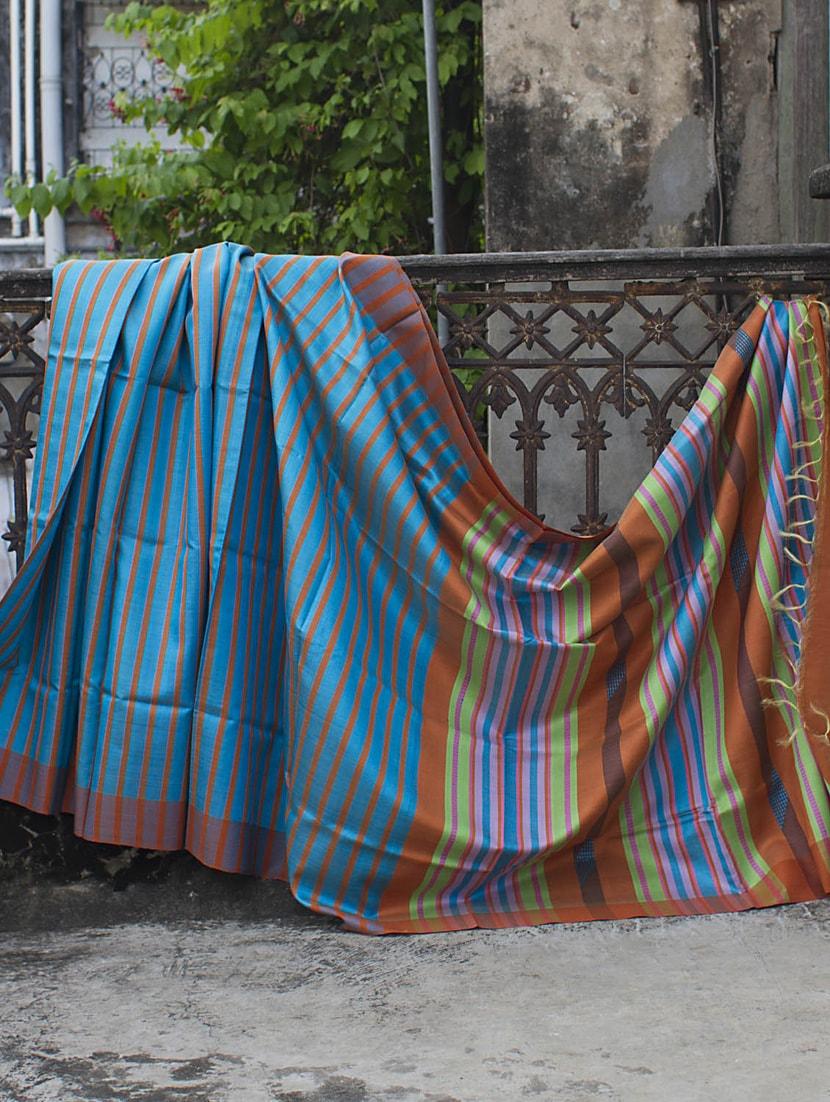 Light Blue And Orange Striped Raw Jute Silk Saree - Cotton Koleksi
