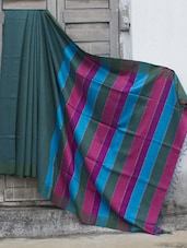 Teal Raw Jute Silk Saree With Striped Aanchal - Cotton Koleksi