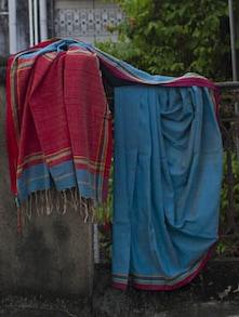 Blue Pakwan Cotton Saree With Striped Aanchal - Cotton Koleksi