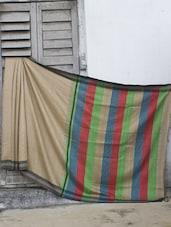 Neutral Toned Raw Jute Silk Saree - Cotton Koleksi