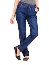 Dark Blue Loose Fit Jeans With Drawstrings - Yepme